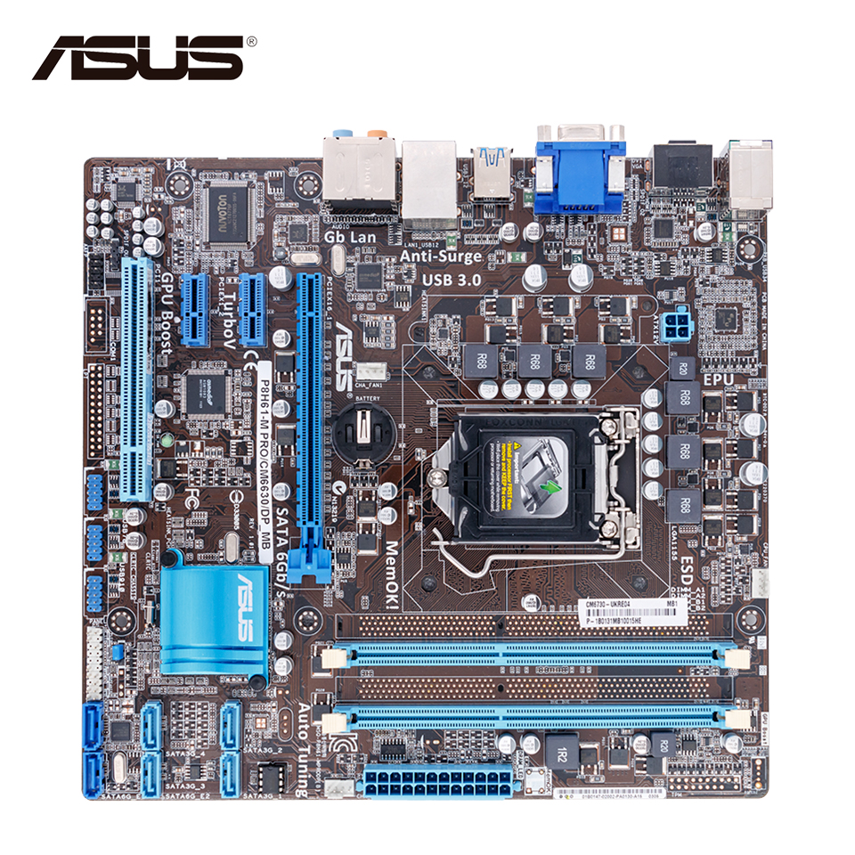 Asus P8H61-M PRO/CM6630/DP Desktop Motherboard H61 Socket LGA 1155 i3 i5 i7 DDR3 16G uATX asus p8b75 m le desktop motherboard b75 socket lga 1155 i3 i5 i7 ddr3 uatx on sale