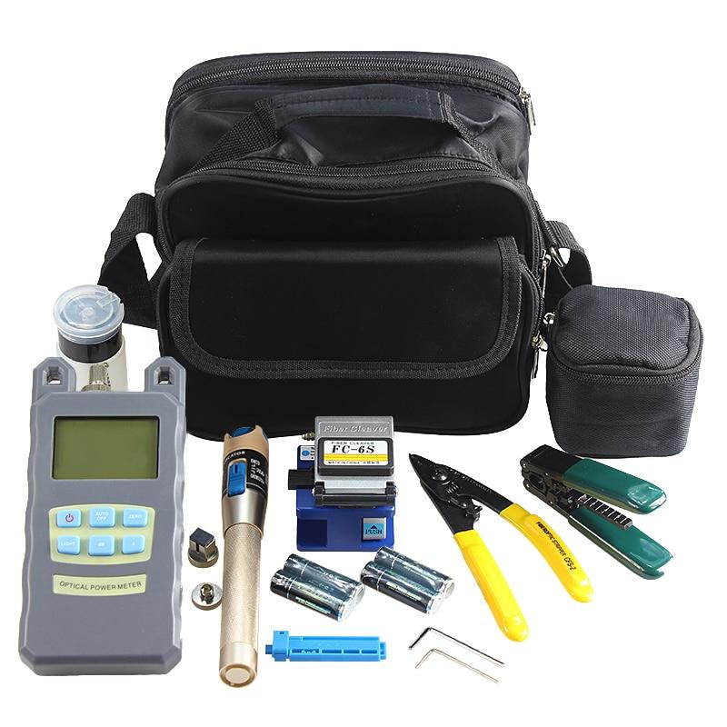 AUA 9 In 1 Fiber Optic FTTH Tool Kit with Fiber Cleaver Optical Power Meter 5km