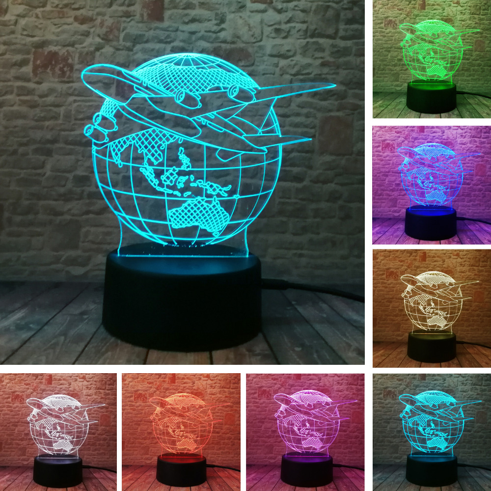 Us 7 92 49 Off Creative Fashion Lamp Visual Earth Plan Aircraft Globe Light Effect Colors Changes Child Kids Table Desk Night In