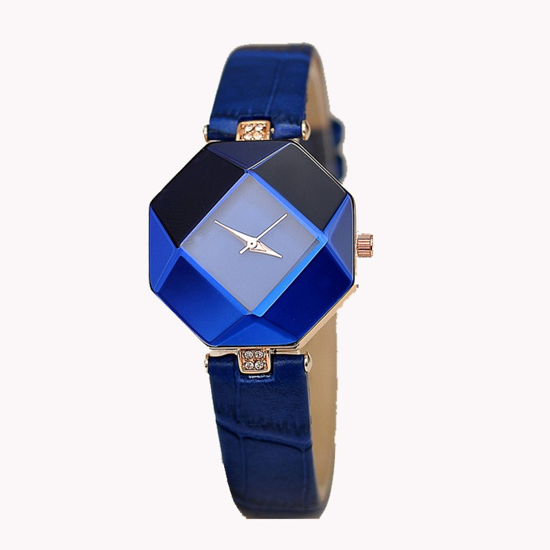 Women Watches Gem Cut Geometry Crystal Leather Quartz Wristwatch Fashion Dress Watch Ladies Gifts Clock Relogio Feminino #W