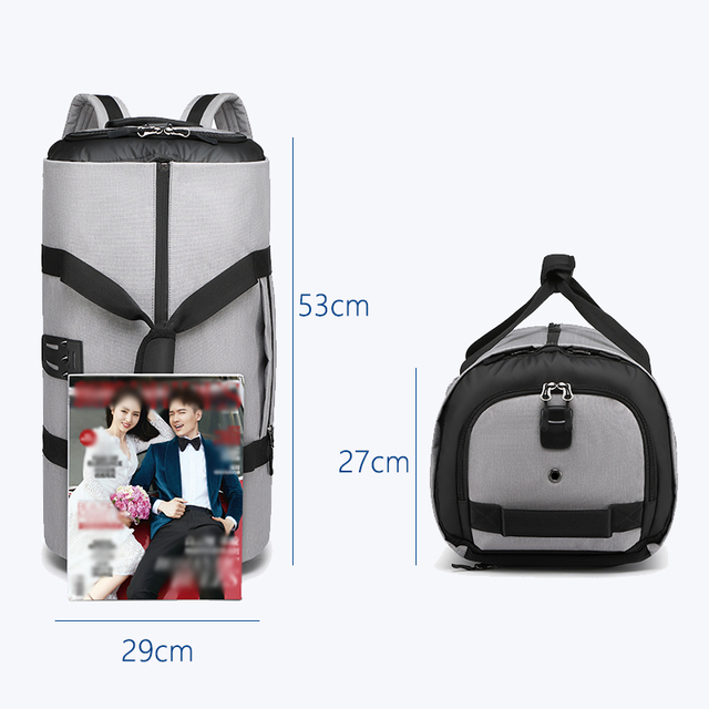 OZUKO Multifunction Large Capacity Men Travel Bag Waterproof Duffle Bag for Trip Suit Storage Hand Luggage Bags with Shoe Pouch 5