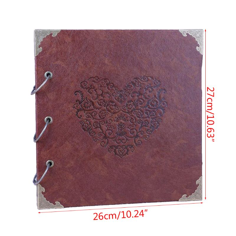 Custom Wedding Guest Book Heart Shaped Leather Cover Scrapbook DIY Photo Album Perfect as Wedding Guest Book in Photo Albums from Home Garden