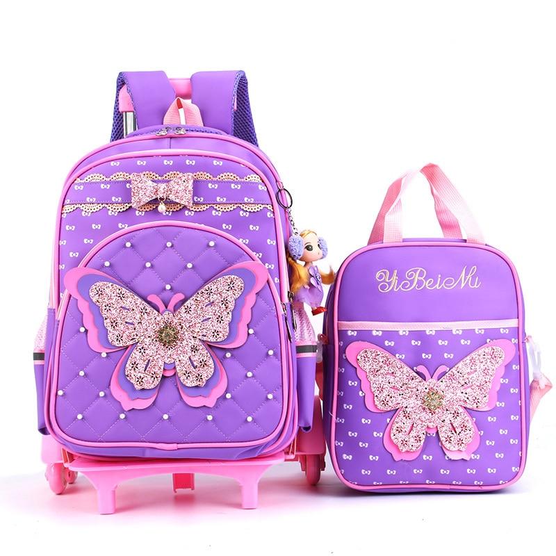 Kind Trolley Schule Tasche Glänzende Schmetterling Kinder Rädern Schulranzen Abnehmbare Design Multifunktions Mädchen Schule Tasche Mit 3 Räder-in Schultaschen aus Gepäck & Taschen bei  Gruppe 1