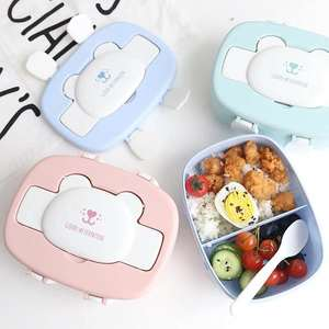 Container Bento-Boxes Food-Storage Plastic Double-Layer School Children's Microwave Cartoon