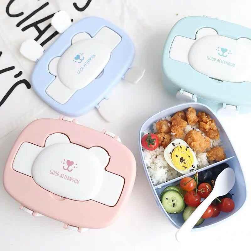 الأطفال الكرتون جميل صندوق بنتو طبقة مزدوجة علبة غداء بلاستيكية الغذاء تخزين الحاويات فرن الميكروويف للمدرسة الأطفال