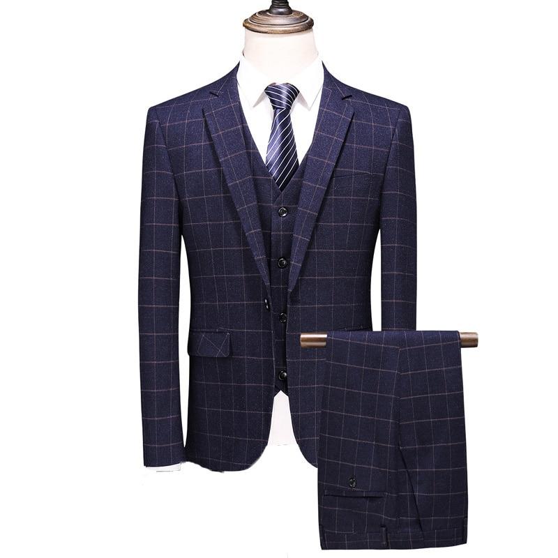 MOGU 2019 New Arrivals Striped Men Suit Navy Casual Tuxedo Costume Homme Wedding Suits For Men Two Button Men's Classic Suit