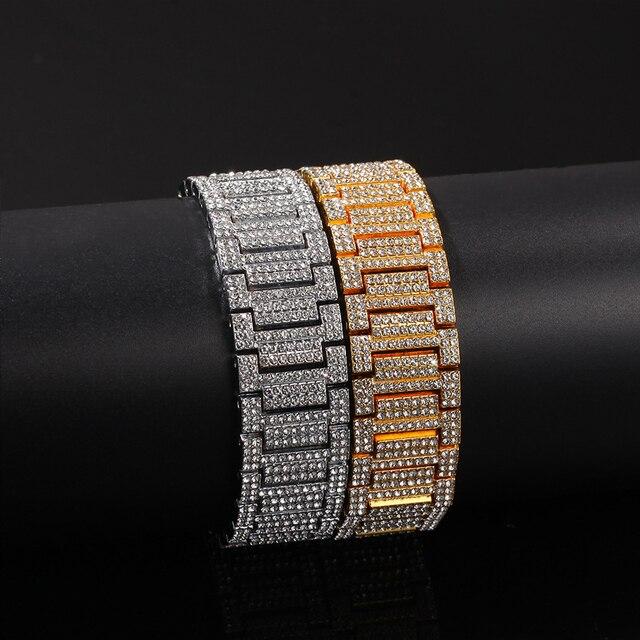 De Hip Hop para hombres pulseras Bling cristal con diamantes Miami de la cadena de oro de Color de plata reloj de los hombres + conjunto de pulsera de lujo de Hip Hop Jewe 5