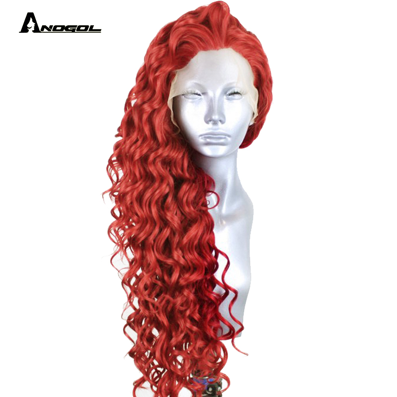 Anogol High Temperature Fiber Free Part Glueless Perruque Red Full Hair Long Kinky Curly Synthetic Lace