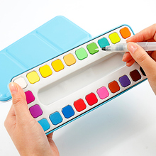 24Color Solid Watercolor Paint Set With Water Brush Painting Pigment Tin Box For School Student Artist Supplies