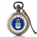 Air Force Soldier Quartz Pocket Fob Watches Vintage Necklace Pendant With Chain Casual Clock Sport Watches For Men Best Gift
