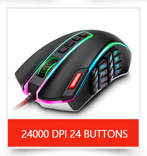 Redragon USB wired RGB Gaming Mouse 24000DPI 10 buttons laser programmable game mice LED backlight ergonomic for laptop computer 4