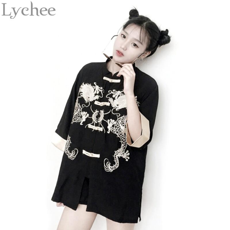 b5d850890 Личи Harajuku китайский Стиль Для женщин блузки дракон Вышивка Повседневное  свободные рукава три четверти рубашка