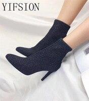 YIFSION/Новые модные эластичные женские ботинки черного и красного цвета, пикантные женские осенние ботинки на тонком высоком каблуке с острым