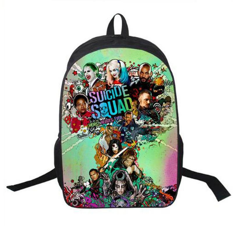Suicide Squad Backpack For Teenager Children Harley Quinn Joker School Bags Mens Women Shoulder Bag Boys Girls School Backpacks