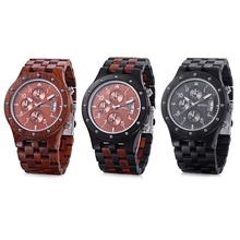 Luxury Men Wooden Quartz Watch BEWELL Japan Movt Three Working Sub-dial Date Display Wristwatch Multi-function Relogio Masculino