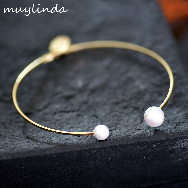 Simulated Pearls Graceful Simple Cuff Bracelet And Bangles Women Copper Bracelet Fashion Opening Cuff Bangles