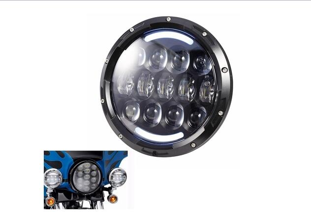 1 piece DOT Approval 105w 7 Inch LED Headlights amber angel eye with DRL Hi/lo Beam for Harley Davidson motorcycle motorcycle 5 75 inch headlight white color angel eye drl hi lo beam 5 3 4 inch headlamp round led light for harley davidson