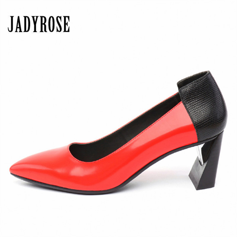JADY ROSE Fashion Red Women Pumps Pointed Toe 6CM High Heels Wedding Dress Shoes Woman Stiletto Valentine Shoes Zapatos Mujer 2016new fashion sole red bottom high heels sexy women shoes pointed toe black red nude pumps wedding party ladies zapatos mujer