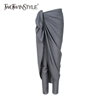 TWOTWINSTYLE Patchwork Pants For Women Lace Up High Waist Striped Zipper Long Trousers Large Size Spring