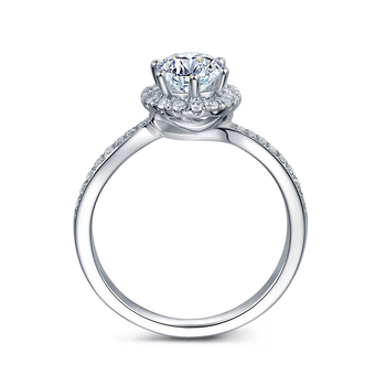 14k Solid White Gold  0.3 ct Round Cut Natural Diamond Engagement Ring  3