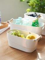 Japanese style Simple Wooden Handle Storage Box Household Plastic Clothes Storage Basket Underwear Finishing Storage Box