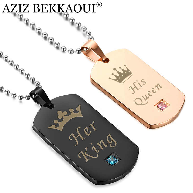 AZIZ BEKKAOUI Her King & His Queen Couple Necklaces with Crown Stainless Steel Tag Pendant Necklace Best Gift Dropshipping