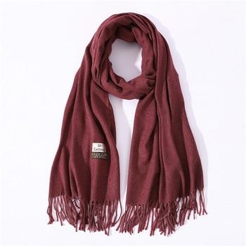 ahorrar 8659d 07a41 Bufanda de Cachemira 2019 para mujer, bufandas de invierno, bufandas  grandes, borlas sólidas para mujer, chal para mujer, Pashmina de alta  calidad
