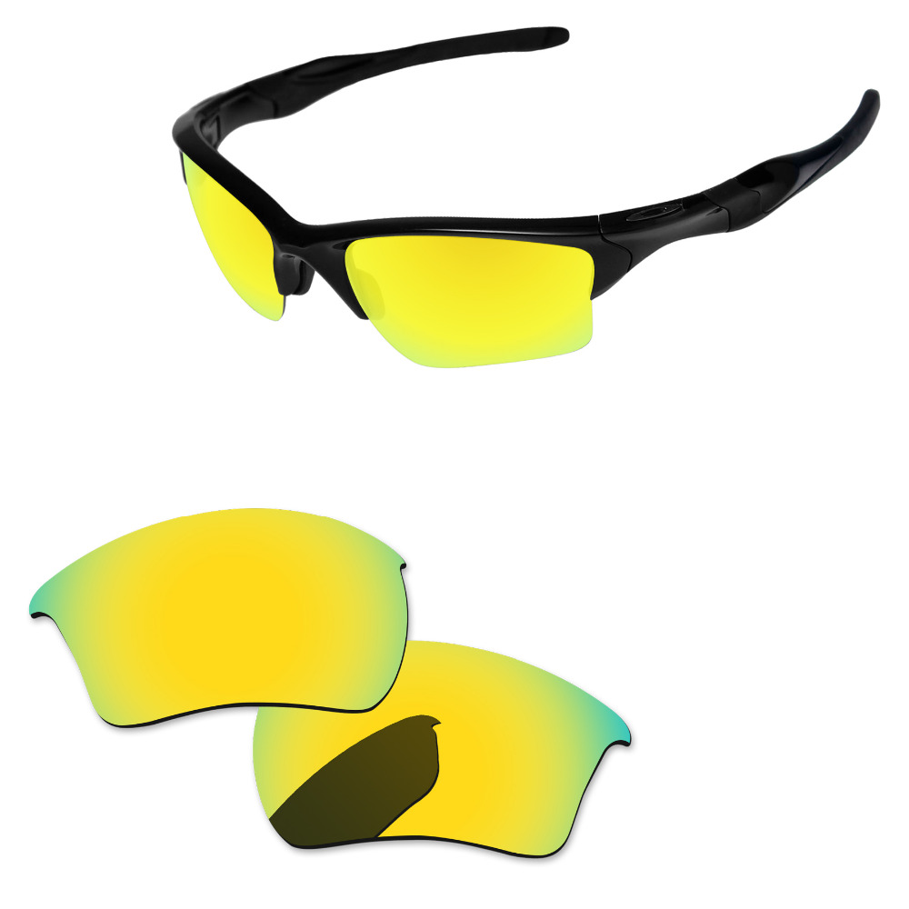 Polycarbonate-24K Golden Mirror Replacement Lenses For Half Jacket 2.0 XL Sunglasses Frame 100% UVA & UVB Protection