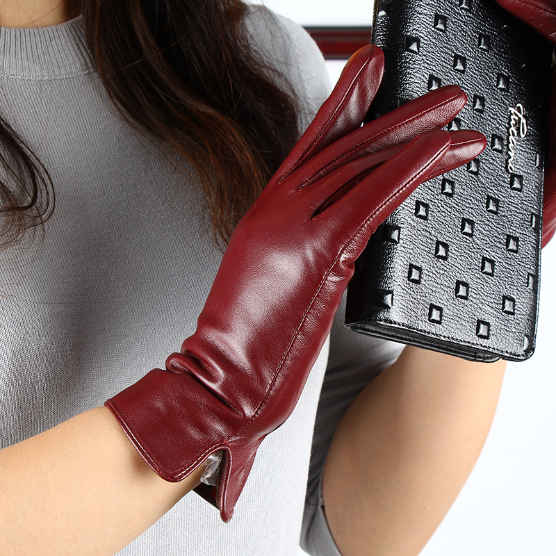 Women's Winter Genuine Leather Gloves Brand Black Touch Screen Gloves Ladies Girls Warmer Driving Goatskin Mittens Free Shipping