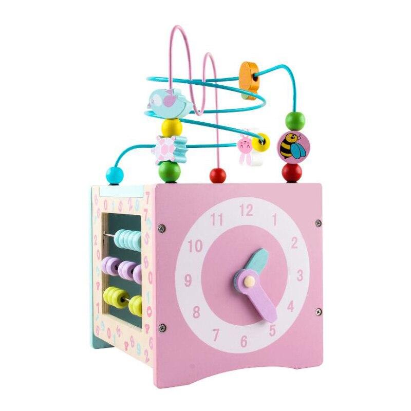 Multifonctionnel En Bois Enfants Puzzle Trésor 4 Côtés Trésor Poitrine Impression de Dessin Animé Jouet Éducatif