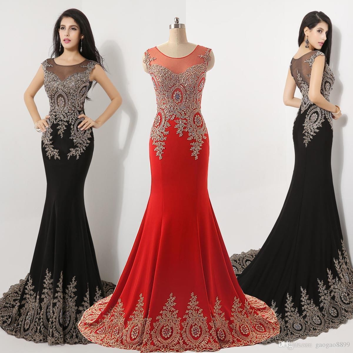 Black dress gold lace - Mermaid Evening Dress Long 2016 Gold Lace Appliques See Through Dubai Arabic Evening Gowns Party Formal