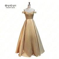 Real Fotos da Cor do Ouro Sexy Backless Longos Vestidos de Noite do Assoalho-comprimento de Noiva Banquete Partido Prom Dress OL102920