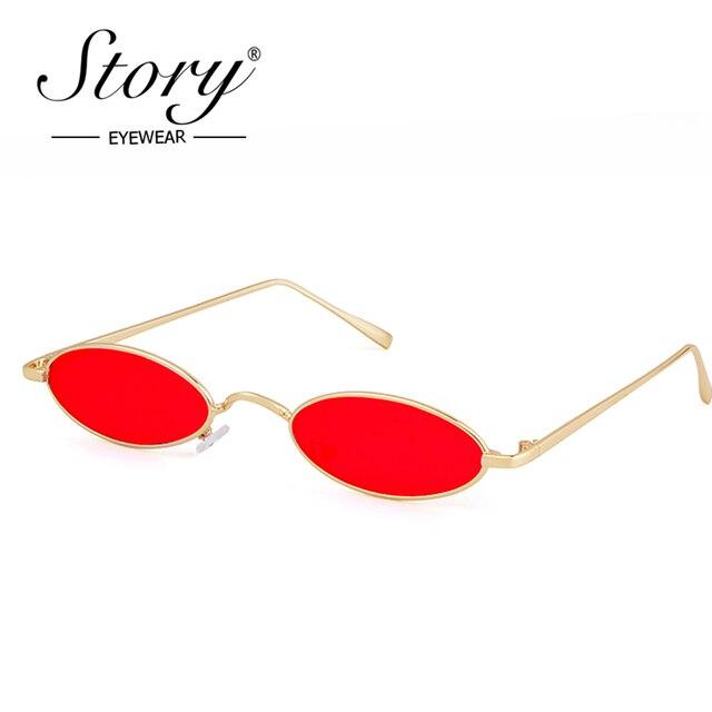 979bd37394c STORY 2018 Vintage Retro Small Oval Sunglasses Women Man Italy Brand  Designer 90s Slim Tint Clear