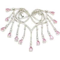 Fantastic Pink Kunzite CZ SheCrown Woman's Wedding 925 Silver Necklaces 18 18.5in 118x46mm