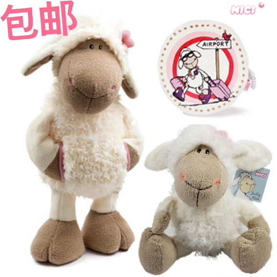 NICI plush toy stuffed doll cute Jolly Mah Dolly sheep head flower cloth with pocket animal parent-child bedtime story gift 1pc