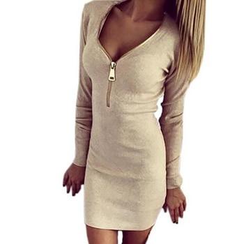 2019 Donne di Inverno di Autunno Mini Vestiti Sexy di Stirata Della Chiusura Lampo Vestito Aderente Sexy Manica Lunga Con Scollo A V Maglia Vestito Da Partito Mujer
