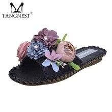 TANGNEST/Сладкие цветы летние шлепанцы женские мягкая подошва пляжная обувь Дамские туфли из PU искусственной кожи на плоской подошве Босоножки на каблуках черный, белый цвет XWT764