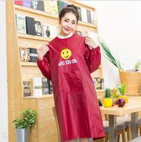 Fashion Solid Color PVC Sleeved Aprons For Woman Man Delantal Coffee Shop Restaurant Kitchen Cooking