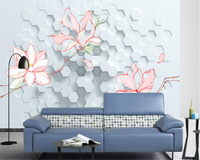 Beibehang Custom Wallpaper Home Decorative Mural Three Dimensional Honeycomb Hand Painted Flower 3d TV Wall 3d