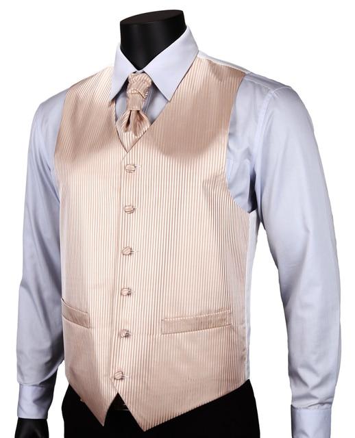 VE09 Yellow Gold Stripe Top Design Wedding Men 100%Silk Waistcoat Vest  Pocket Square Cufflinks 37fd9e396