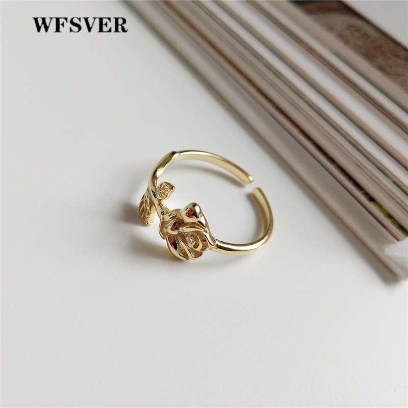 WFSVER women romantic 925 sterling silver fashion ring gold color Rose shape wedding rings opening adjustable fine jewelry gift in Rings from Jewelry Accessories