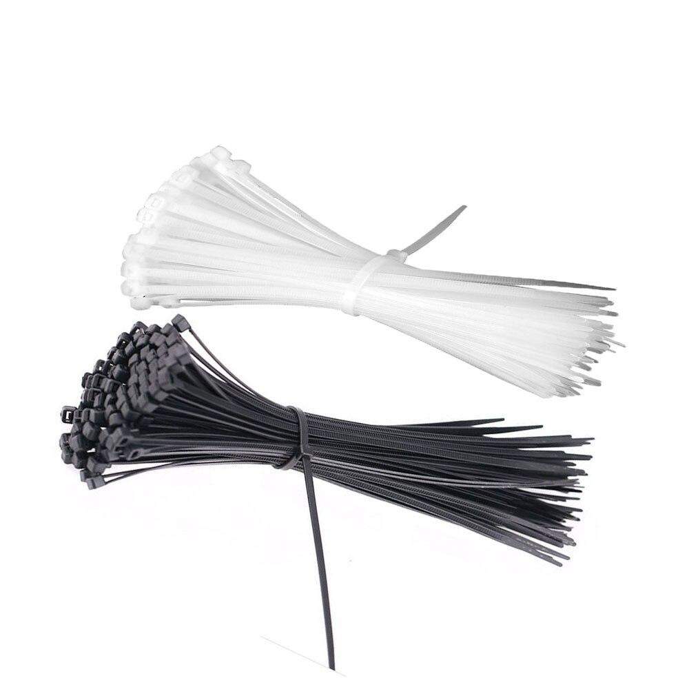100pcs 100mm Nylon Plastic Zip Trim Wrap Cable Loop Ties Wire Self-Locking uPick