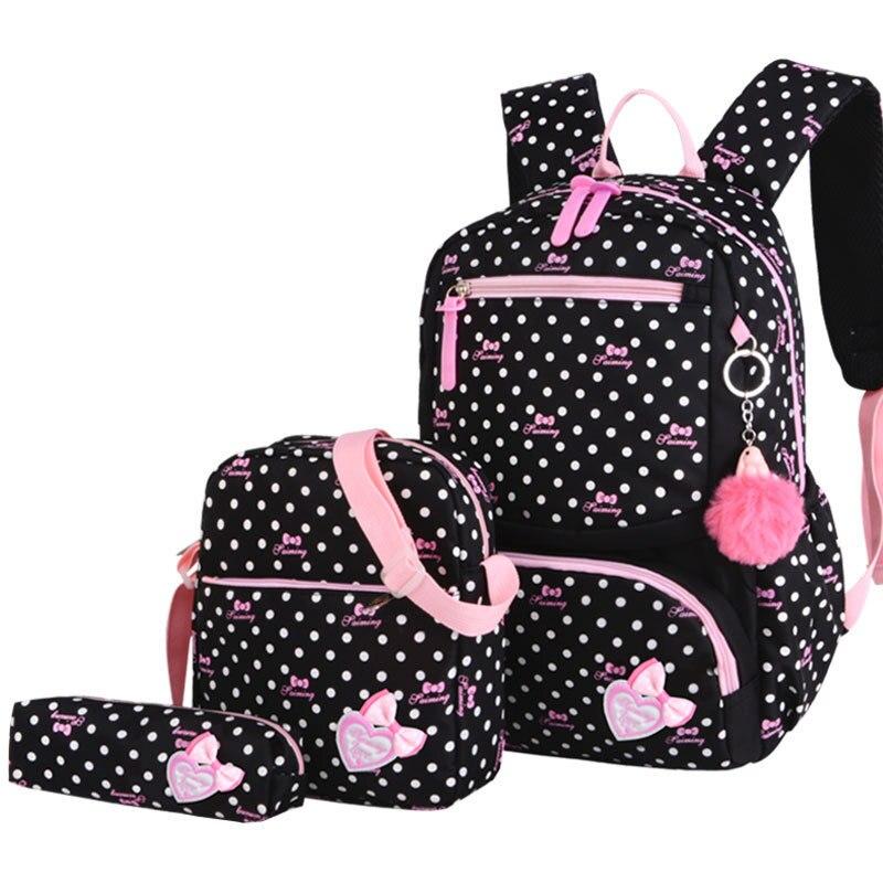 Children School Nylon Back Pack Bags For Girls Kids School Backpack 3Pcs Set Fashion Printing Schoolbags Backpacks Bagpack in School Bags from Luggage Bags