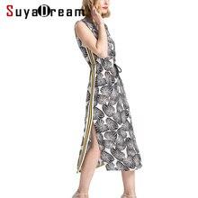 Women Maxi dress 100% Natural silk Print Long dresses Sleeveless belted waist Side strips dress Summer dress 2018 New