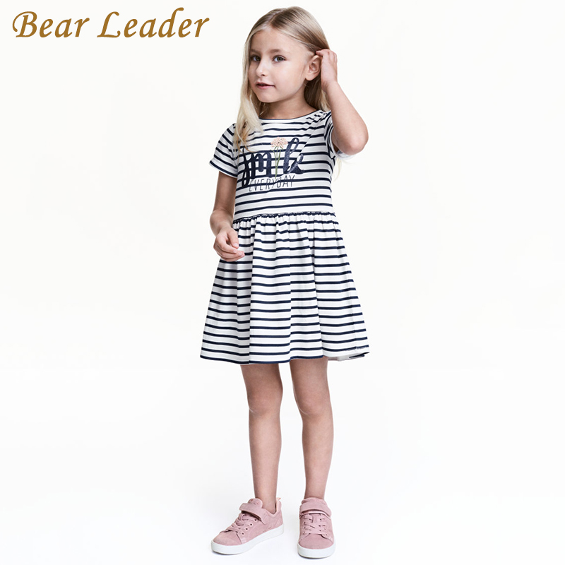 Bear Leader Girls Dress 2017 New Summer Style Children Clothing Black and White Striped Princess Dress for Girls Clothes 2-6Y new sexy vs045 1 6 black and white striped sweather stockings shoes clothing set for 12 female bodys dolls