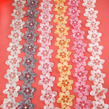 1 Meter/Multicolor Double Layer Flower Embroidered Lace Ribbon Fabric Handicrafts Trim DIY Sewing Accessories