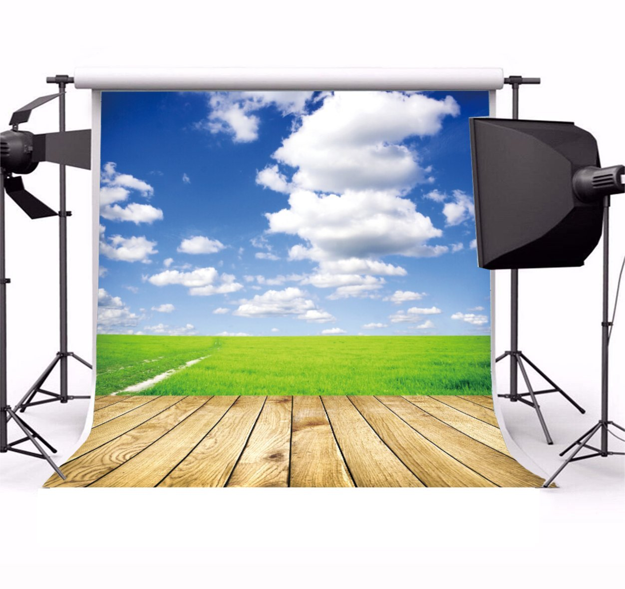 Green Field Sky Grey Clouds Wood Grass Trees Plank background polyester or Vinyl cloth Computer print wall backdrop