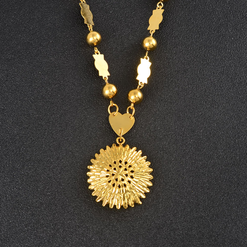 Anniyo Marshall Round Pendant Beads Chain Necklaces for Women Gold Color Hawaii Micronesia Islands Jewelry Gifts #155706Anniyo Marshall Round Pendant Beads Chain Necklaces for Women Gold Color Hawaii Micronesia Islands Jewelry Gifts #155706