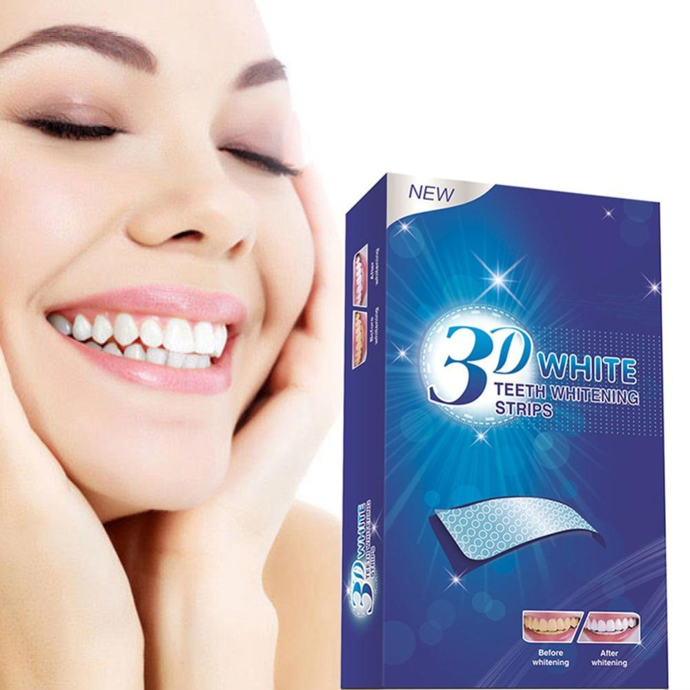14Pcs/7 Pair 3D White Gel Teeth Whitening Strips Oral Hygiene Care Double Elastic Teeth Strips Whitening Dental Bleaching Tools
