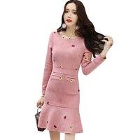 Nuovo Autunno Inverno Faux Suede Modo del Vestito Maglia A Manica Lunga Elegante Rosa Della Sirena Abiti Lady Mini Partito Slim Abiti AB555